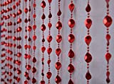 Pindia Strings Leaf Fancy Sparkling Plastic Bead Hanging Curtain - 7ft, Red