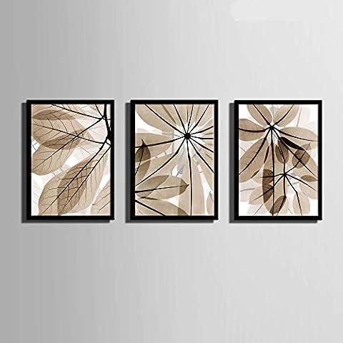 modylee trasparente colorato Foglie con telone Video decorazione dipinti soggiorno PC 3pittura a olio su tela, Black,