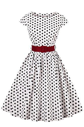 Robe Femme Vintage Audrey Hepburn année 1950s Noir à Pois Manche Courte Swing en Coton Grande Taille par MisShow Blanc