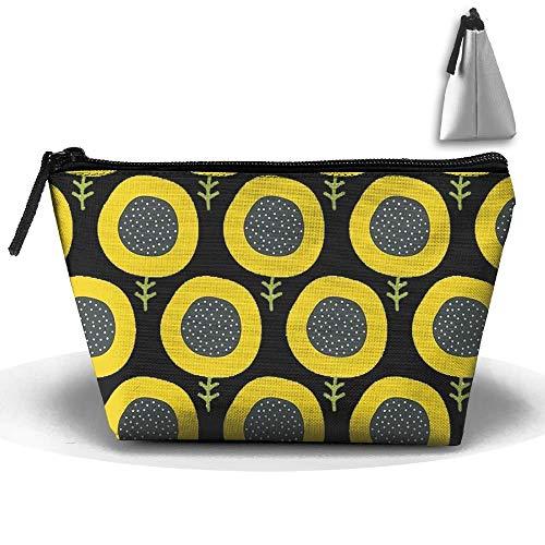 Frauen Einfache Abstrakte Sonnenblume Muster Reise Make-Up Taschen Cluth Tasche Poin Geldbörse Mit Reißverschluss -