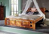 MASSIVMOEBEL24.DE Oxford Bett Classic #0252 Akazie Honig massiv Kopfteil mit Lochmuster - Akazie Honig 160x200