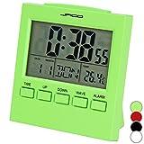 Jago Funkwecker Wecker mit Temperaturanzeige mit LCD-Display in vier verschiedenen Farben und LED-Hintergrundbeleuchtung inkl. Snooze-Funktion