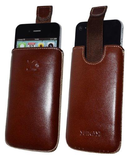 Suncase Original Étui de protection en cuir-Pour Apple IPHONE 4-Housse étui iphone 4(pour dernière iPhone 4ème génération)-Dans la Couleur Marron