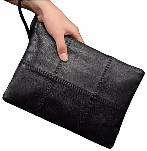 Everdoss Handgelenkstaschen Herren Unterarmtasche Geldbörse lange Portemonnaie echtes Leder Clutch Bag Große Kapazität Vintage schwarz