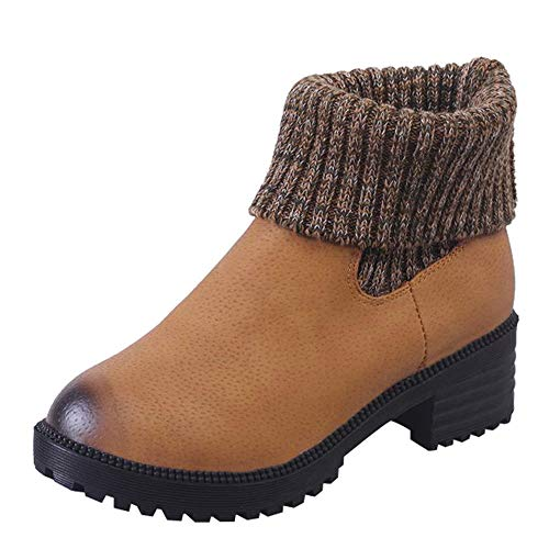 Selou Damen Winter warme Schuhe Bequeme Schneeschuhe Stiefel Kurze Stiefel Quadratischer Absatz Runde Lederschuhe Rutschfeste Schuhe High Heels stiefelsex latex stiefel nylons ledermini