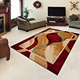"Rug ROYAL Red Modern Design Best Price High Quality Living Room S - XXL Wavy Pattern 110 x 265 cm (3ft8"" x 8ft9"")"
