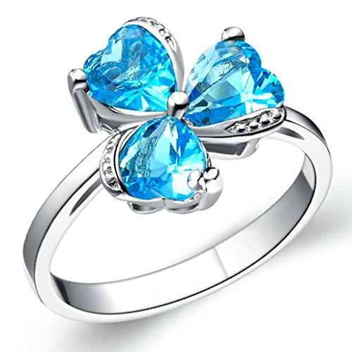 KnSam Women Platinum Plate Engagement Rings Shamrock Blue Size L 1/2 Crystal Rhinestone [Novelty Rings]
