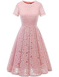 Dresstells Damen Midi Elegant Kleid Hochzeit Spitzenkleid wadenlanges Kurzarm Cocktail Ballkleid