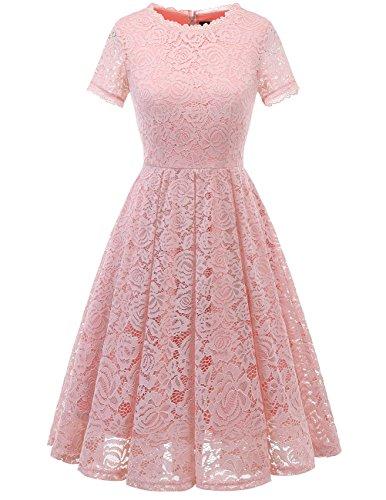 DRESSTELLS Damen Midi Elegant Hochzeit Spitzenkleid Kurzarm Rockabilly Kleid Cocktail Abendkleider Blush M