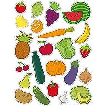 APLI Kids - Bolsa de gomets frutas-verduras, 3 hojas adhesivo removible