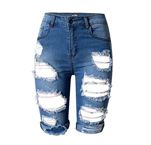 Wgwioo Weibliche Charakter Löcher Hosen Sexy Mini Shorts Jeans Denim Hohe Taille Nacht Club . Deep Blue . (Charaktere Von Kostüme Up)