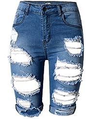 Wgwioo Pantalons De Trous De Personnage Féminin Pantalons De Sport Sexy Mini Shorts Jeans Denim High Waist Night Club