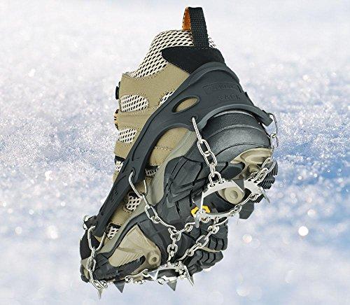 Steigeisen 13Zähne Universal Flexible, rutschfeste Ice Grips Snow Traction Klampen Ice Spikes Steigeisen mit Edelstahl Kette für Klettern Wandern, (Universal Schuhe)