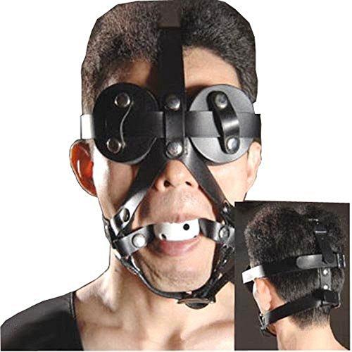 Loveours Augenmaske SM Mund knebel Beißenknebel Gag Kopfgeschirr Fetish Face Bondage - Aufblasbare Für Sex Mund-knebel