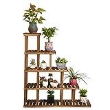 Khkfg Flower Racks, Blumentöpfe Holzständer Multi Storey Display Stand Eckregal Multilayer Balkon Blume Blumentopf Rack Brauchen Ihre Eigene Installation Kombination (Farbe: Carbon gebackene Farbe)