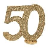 SANTEX 4753-50 - Numero per compleanno dei 50 anni, verticale, decorativo, colore: oro