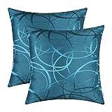 CaliTime, Confezione da 2 federe per Cuscini, per Divano, Arredamento Moderno, Brillante e Opaco, Cerchi Geometrici a Contrasto, Sea Blue, 45 cm x 45 cm