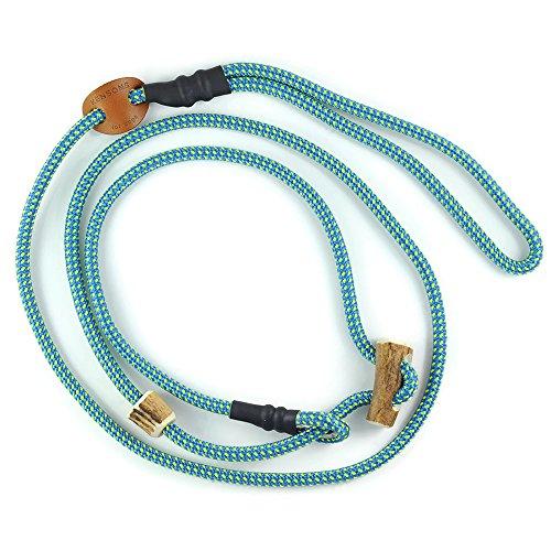 KENSONS for dogs HUNDELEINE   RETRIEVERLEINE 'Sporty', blau-gelb-Points, 6 mm dick, mit Zugstopp aus Hirschhorn   Halsband und Leine in Einem   Hundeführleine   Führleine   Tauleine   Moxon-Leine