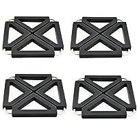 Pot Holder ajustable plegable para Hot Dishes Trivet Silicone Metal Kitchen Mesa Dish Mats, Negro, 4 piezas