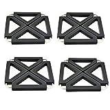Fyuan Topflappen Verstellbar Faltbar für Heiße Gerichte Trivet Silikon Metall Küchentisch Dish Mats, Schwarz, 4 Stück