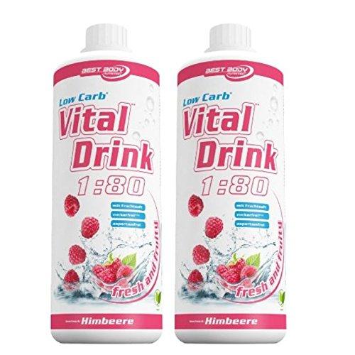 Best Body Nutrition Low Carb Vital Drink 2 x 1 Liter 2er Pack Himbeere