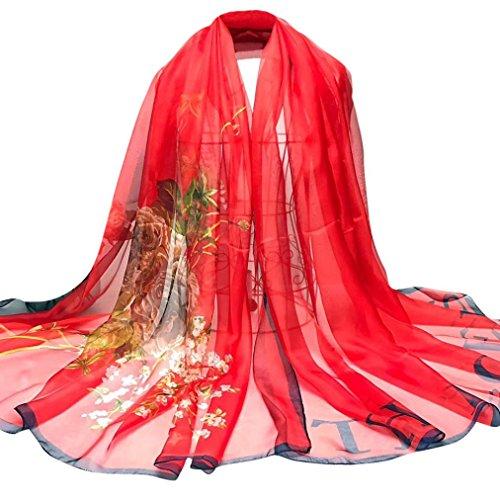 Soie éCharpe, AIMEE7 ÉCharpe En Mousseline De Soie à La Mode Pour Femmes Lady Wrap Long ChâLe Rouge