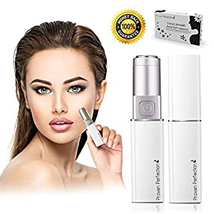 Women's Luxury Portable Facial Hair Remover – New Ladies Shaver Razor Trimmer – Painless, Flawless & Effective – For Peach Fuzz, Bikini Line, Chin, Upper Lip, Armpit, Legs Hair – Battery Operated – UK Brand (White Silver)