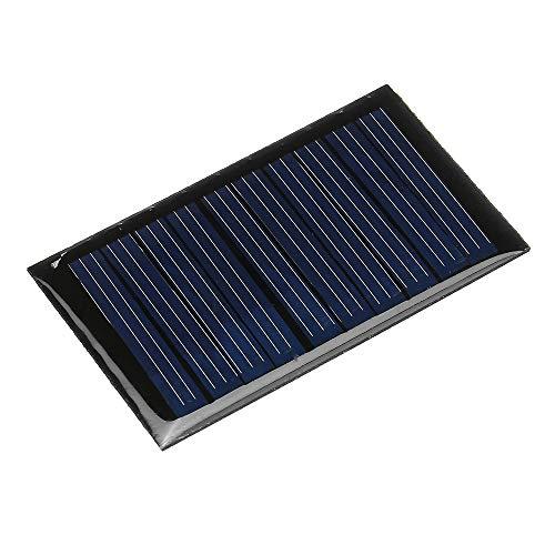 Especificaciones: -Potencia máxima: 0,15 (W) -Corriente de trabajo: 0-30MA (dependiendo de la intensidad de la luz solar) -Tensión de trabajo: 5 (V) -Voltaje del sistema: 5,5 (V) -Voltaje de circuito abierto: 5,5 (V) -Corriente de cortocircuito: 0.0...