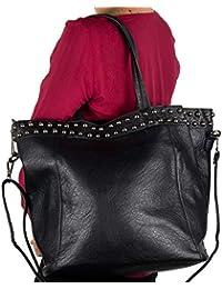 4739b10604 Borsa borchie donna shopping borchiata a spalla grande capiente color blu  nera cuoio tipo bag con