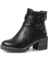 YORWOR Zapatos de Tacón ancho de Botas para mujer 6cm Cremallera Clásico Botines