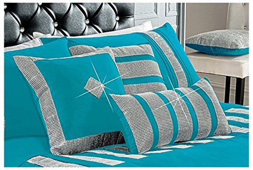 Gaveno Cavailia Sequence Lace Bed Set with Duvet Cover and Pillow Case, Poly Cotton, Teal, Double