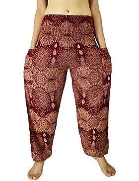 Rosina de la mujer harén Genie pantalones Pescador pantalones Smocked cintura