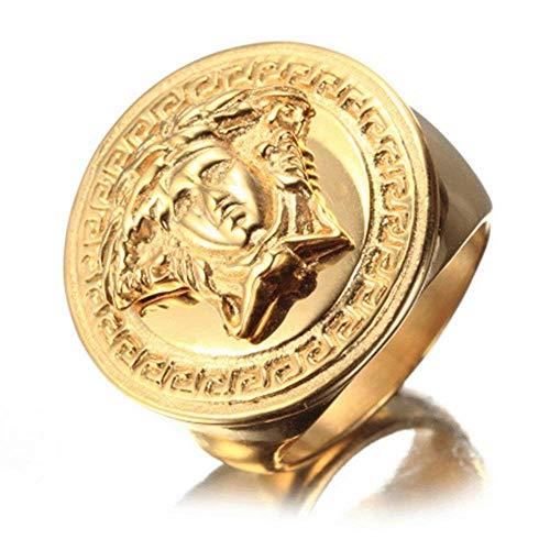 XBMEN Edelstahl Mens Ring Hip Hop Herren Gold Ringe Griechische Mythologie Medusa Kopfring Für Männer