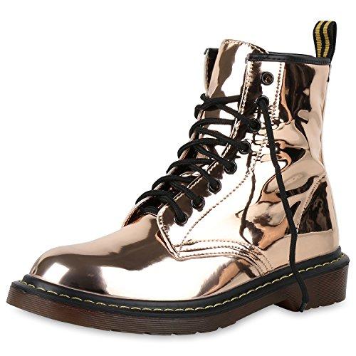 SCARPE VITA Damen Stiefeletten Worker Boots Metallic Schnürstiefel Outdoor Rose 164172 Rose Gold Lack 37