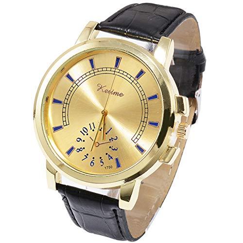 Waselia Uhren Herren Edle Uhren Uhr Mit Lederarmband Herren/Markenuhren MäNner/Herrenuhren Online Shop/Schweizer Uhr/Blue-Ray-Glas-Neutral-Quarz Simuliert Die Epidermale Armbanduhr Aus Leder