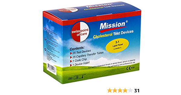 Swiss Point Of Care Mission 3 In 1 Test Strips And Other Measuring Accessories 25 Cholesterol Test Strips Including 25 Transfer Tubes 1 Code Chip 1 Device Insert Drogerie Körperpflege