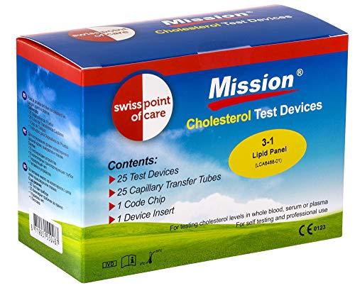 Swiss Point Of Care 3 in 1 Cholesterin Teststreifen und weiteres Messzubehör   25 Teststreifen, inkl. 25 Kapillar Transferschläuche, 1 Codechip, 1 Geräteeinsatz