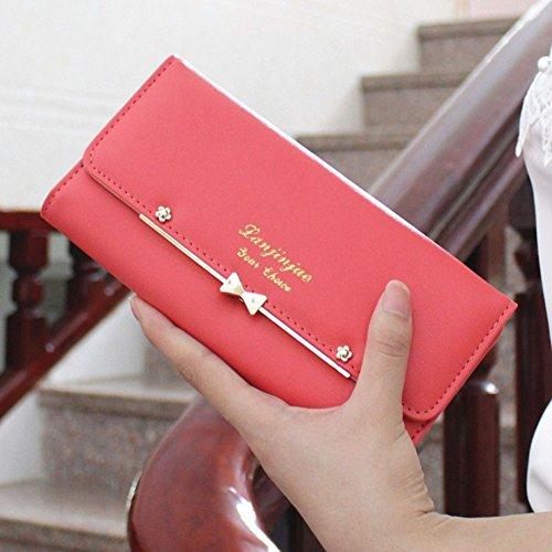Grande capacità Lunga Portafoglio da Donna in PU Pelle Borsa con Fibbia con Cerniera Frizione Borsetta Cartella Rose Anguria rossa
