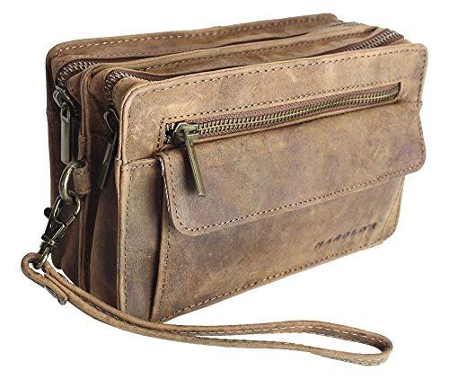Luxus-leder-taschen (Echt Leder Herren Luxus Handgelenktasche Herrenhandtasche Brieftasche Geldbörsentasche)
