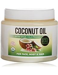 Huile de Coco Extra Vierge Pressée à Froid Pour Le Corps, Cheveux, Ongles, Visage et Cuticules, Lait hydratant de Coco 100% Bio 500ml