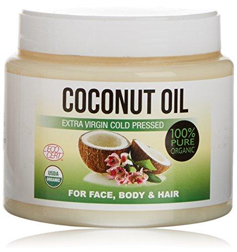Aceite de coco extra virgen de primera presión en frío para el cuerpo, el pelo, las uñas, el rostro y las cutículas - Hidratante de coco 100% orgánico 500 ml