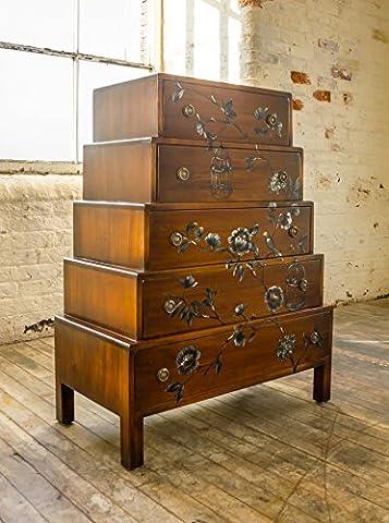Indira Große Kommode 5Schubladen Schlafzimmer Möbel aus massivem Mahagoni handgefertigt und handbemalt Honig reichhaltig, Mahagoni Brown and Red