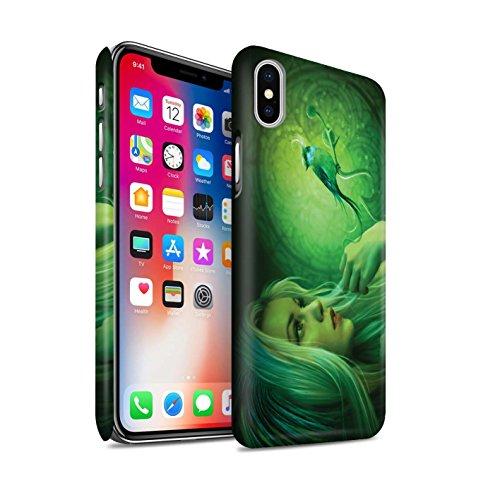 Officiel Elena Dudina Coque / Clipser Matte Etui pour Apple iPhone X/10 / Faucon Gardien/Épée Design / Les Oiseaux Collection Oiseaux Libres/Vitrail