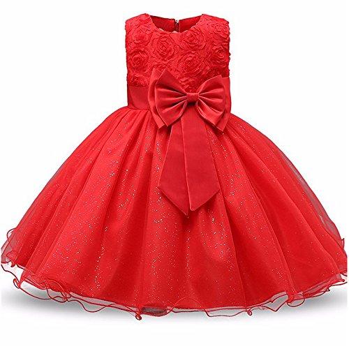 BOZEVON Baby Mädchen Ärmellos Kleider Hochzeit/Party / Geburtstag/Taufe / Brautjungfer Abendkleider Kinder Bowknot Spitze Prinzessin Kleid Kostüm, Rot