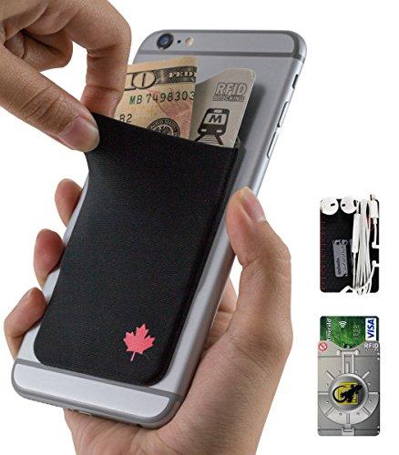 Gecko Klebstoff Phone Portemonnaie & RFID-blockierender Ärmel, einer Kleberkartenhalter dehnbar Lycra Halterung universell passend für die meisten Handys und Fällen. Xtra Hoch Pocket Völlig Bezüge Kreditkarten & - Passend Halloween Für