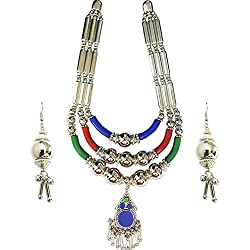 Young & Forever Tribal Muse Navli Navratri Collection Splendid Brass Jaipur Jewels Antique Silver Oxidized CHOKER Necklace Set for girls navratri jewellery for women by CrazeeMania