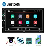 CAMECHO Bluetooth Autoradio 2 DIN Touchscreen Capacitivo da 7 Pollici Link Specchio per iOS/Telefono Android Ricevitore FM Lettore MP3 MP5 USB SD AUX-in + Telecamera Posteriore