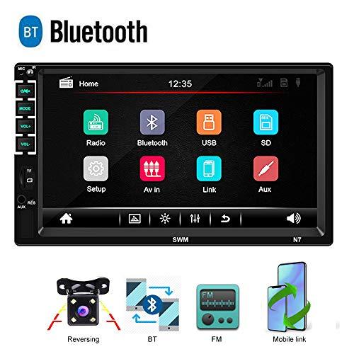 Bluetooth 2 Din Autoradio CAMECHO 7 Zoll kapazitiver Touchscreen Spiegel Link für IOS/Android Telefon FM Empfänger MP5 Auto Spieler USB SD AUX-in + Rückfahrkamera