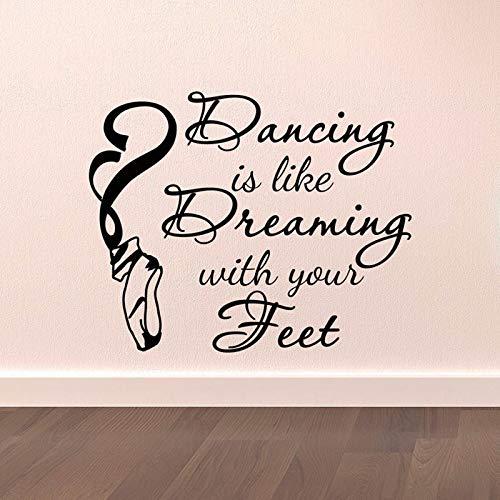 woyaofal Tanz Wandaufkleber Tanzen ist wie Träumen mit Ihren Füßen Zitate Aufkleber Tänzer Ballett Spitzenschuhe Wandkunst Vinyl Schriftzug52x42cm