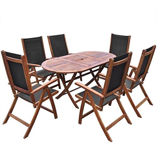 vidaXL 7tlg Holz Essgruppe Sitzgruppe Gartenmöbel Sitzgarnitur Klappstuhl Akazie